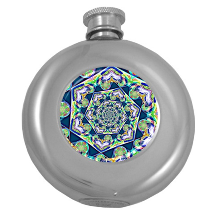 Power Spiral Polygon Blue Green White Round Hip Flask (5 oz)