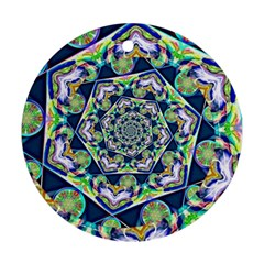 Power Spiral Polygon Blue Green White Round Ornament (Two Sides)