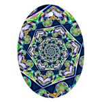 Power Spiral Polygon Blue Green White Oval Ornament (Two Sides) Back