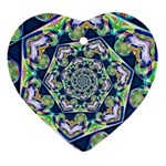 Power Spiral Polygon Blue Green White Heart Ornament (2 Sides) Back