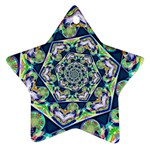Power Spiral Polygon Blue Green White Star Ornament (Two Sides)  Back