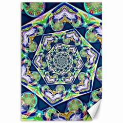 Power Spiral Polygon Blue Green White Canvas 12  x 18