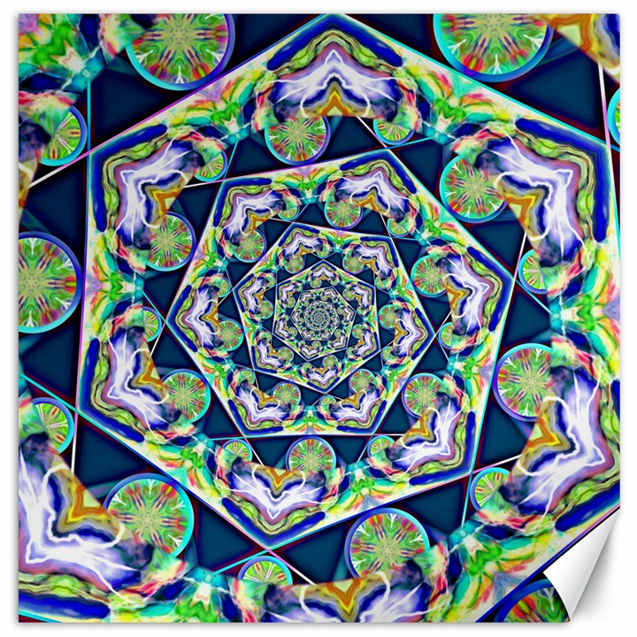 Power Spiral Polygon Blue Green White Canvas 16  x 16