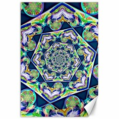 Power Spiral Polygon Blue Green White Canvas 20  x 30