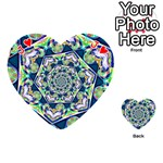 Power Spiral Polygon Blue Green White Playing Cards 54 (Heart)  Front - HeartJ