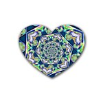 Power Spiral Polygon Blue Green White Rubber Coaster (Heart)  Front