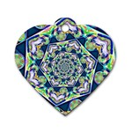 Power Spiral Polygon Blue Green White Dog Tag Heart (One Side) Front