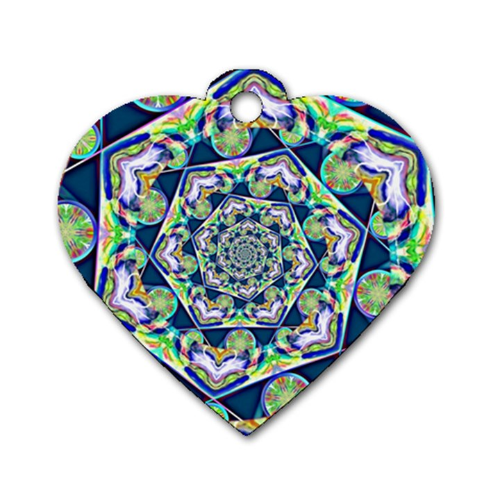 Power Spiral Polygon Blue Green White Dog Tag Heart (One Side)