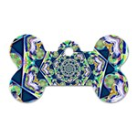 Power Spiral Polygon Blue Green White Dog Tag Bone (One Side) Front