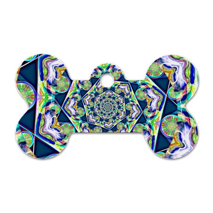 Power Spiral Polygon Blue Green White Dog Tag Bone (Two Sides)