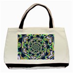 Power Spiral Polygon Blue Green White Basic Tote Bag (Two Sides) Back