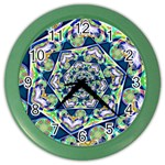 Power Spiral Polygon Blue Green White Color Wall Clocks Front