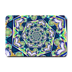 Power Spiral Polygon Blue Green White Small Doormat