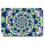 Power Spiral Polygon Blue Green White Large Doormat  30 x20 Door Mat - 1
