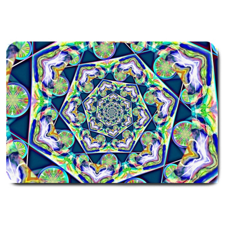 Power Spiral Polygon Blue Green White Large Doormat