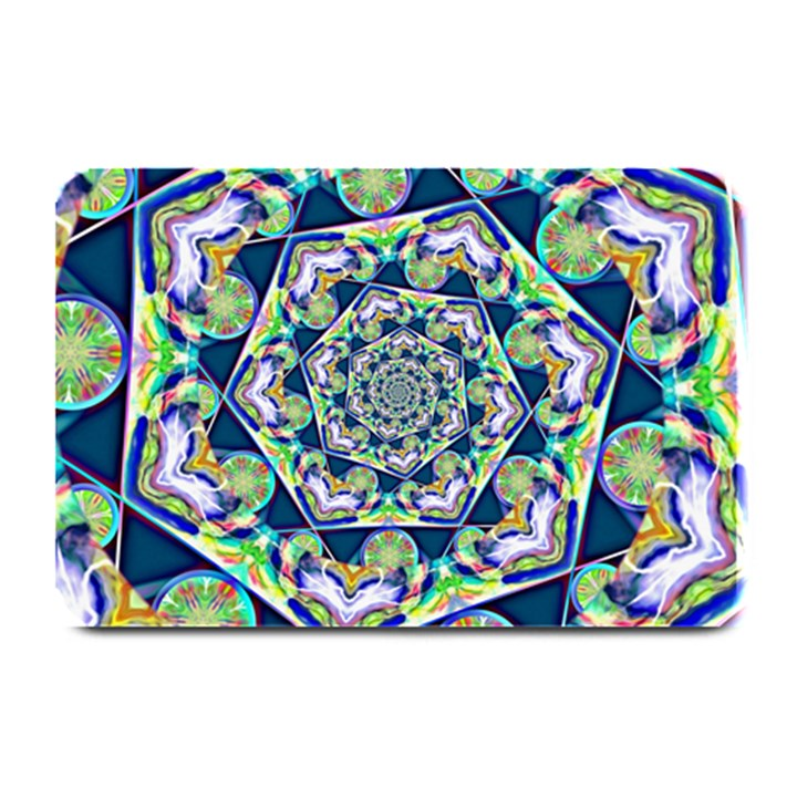 Power Spiral Polygon Blue Green White Plate Mats