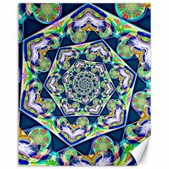 Power Spiral Polygon Blue Green White Canvas 11  X 14