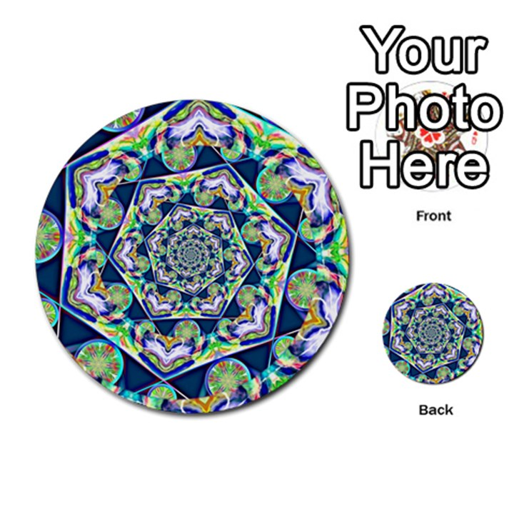 Power Spiral Polygon Blue Green White Multi-purpose Cards (Round)