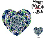 Power Spiral Polygon Blue Green White Multi-purpose Cards (Heart)  Back 32