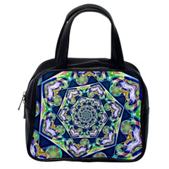 Power Spiral Polygon Blue Green White Classic Handbags (One Side)