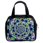 Power Spiral Polygon Blue Green White Classic Handbags (2 Sides) Front
