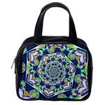 Power Spiral Polygon Blue Green White Classic Handbags (2 Sides) Back