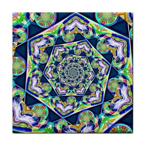 Power Spiral Polygon Blue Green White Face Towel