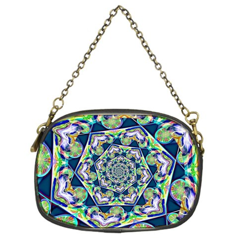 Power Spiral Polygon Blue Green White Chain Purses (One Side)