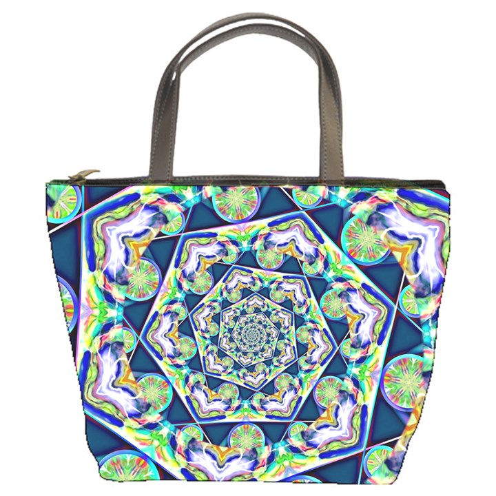 Power Spiral Polygon Blue Green White Bucket Bags
