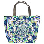 Power Spiral Polygon Blue Green White Bucket Bags Back