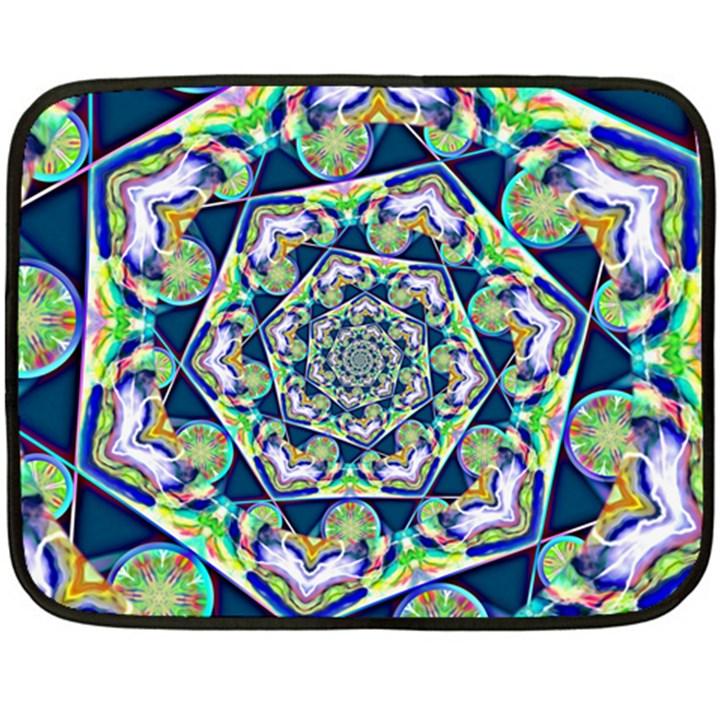 Power Spiral Polygon Blue Green White Fleece Blanket (Mini)