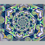 Power Spiral Polygon Blue Green White Canvas 14  x 11  14  x 11  x 0.875  Stretched Canvas