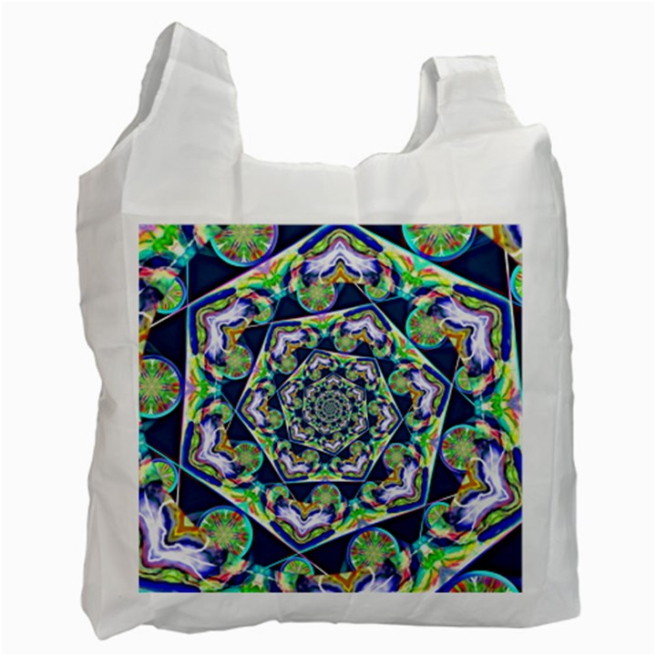 Power Spiral Polygon Blue Green White Recycle Bag (One Side)