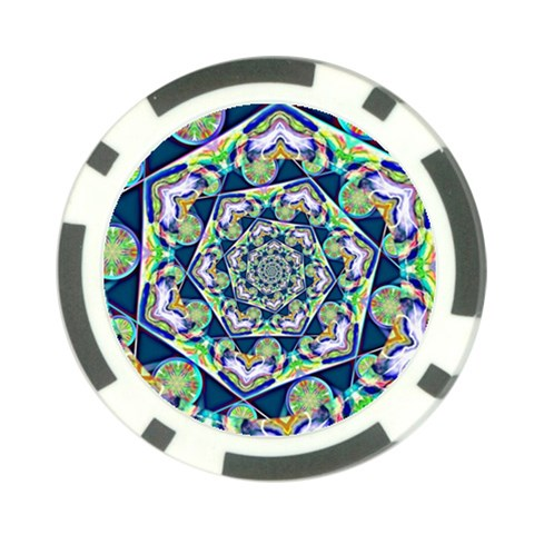 Power Spiral Polygon Blue Green White Poker Chip Card Guards (10 pack)