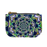 Power Spiral Polygon Blue Green White Mini Coin Purses Front
