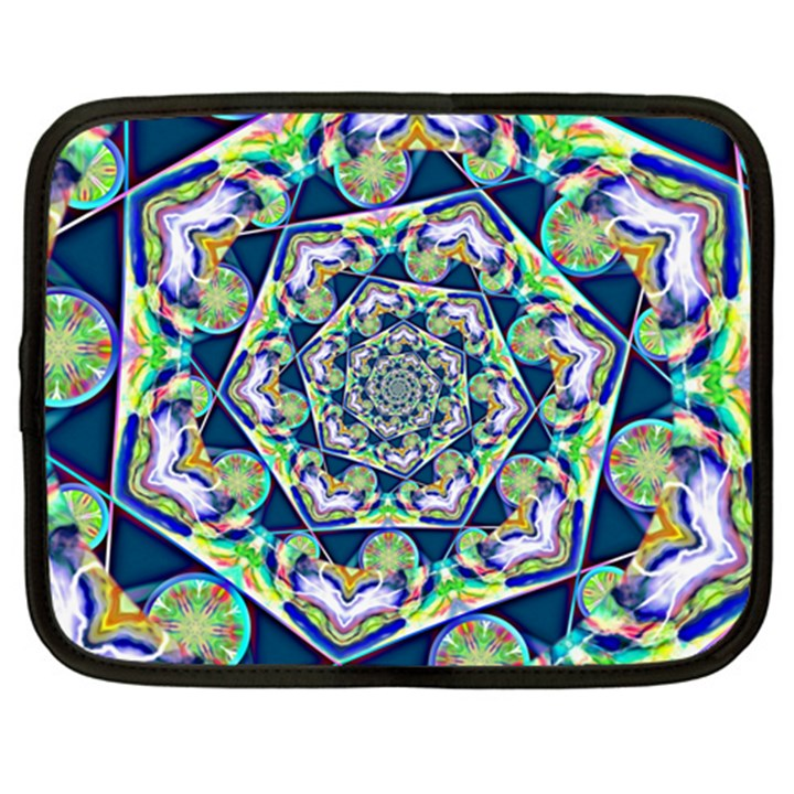 Power Spiral Polygon Blue Green White Netbook Case (XXL)