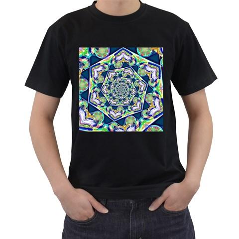 Power Spiral Polygon Blue Green White Men s T-Shirt (Black)