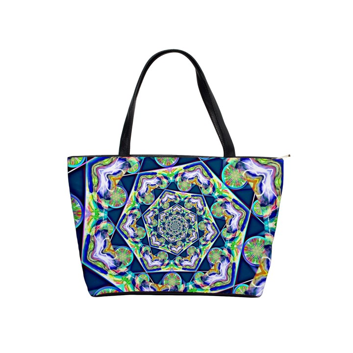 Power Spiral Polygon Blue Green White Shoulder Handbags