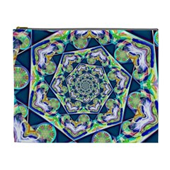 Power Spiral Polygon Blue Green White Cosmetic Bag (xl)