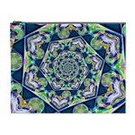 Power Spiral Polygon Blue Green White Cosmetic Bag (XL) Front