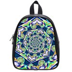 Power Spiral Polygon Blue Green White School Bags (Small)  Front