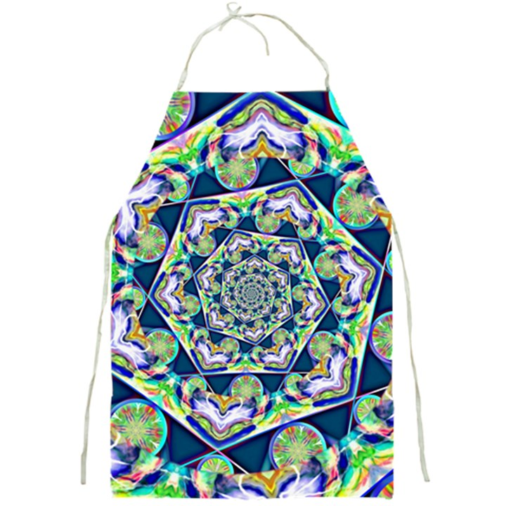 Power Spiral Polygon Blue Green White Full Print Aprons
