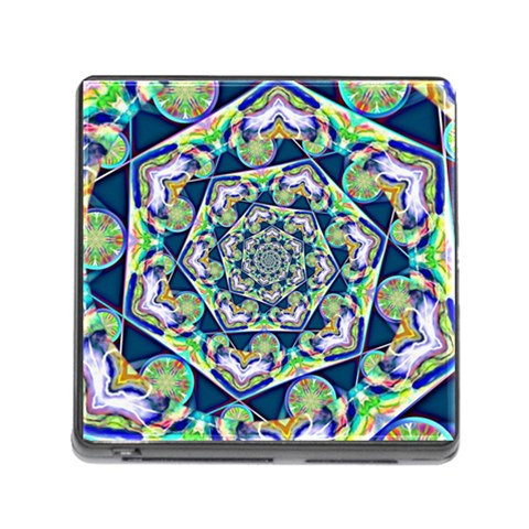Power Spiral Polygon Blue Green White Memory Card Reader (Square)