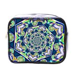 Power Spiral Polygon Blue Green White Mini Toiletries Bags Front
