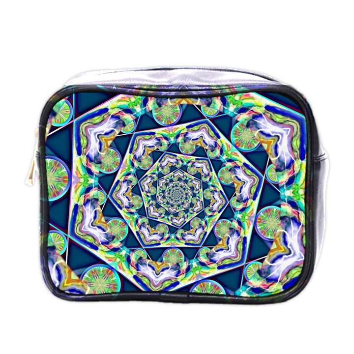 Power Spiral Polygon Blue Green White Mini Toiletries Bags