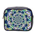 Power Spiral Polygon Blue Green White Mini Toiletries Bag 2-Side Front