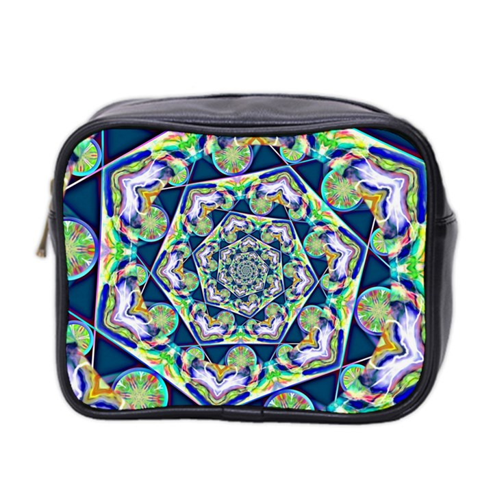 Power Spiral Polygon Blue Green White Mini Toiletries Bag 2-Side