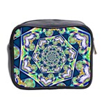 Power Spiral Polygon Blue Green White Mini Toiletries Bag 2-Side Back