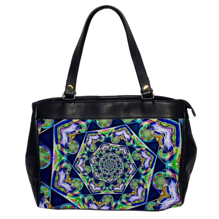 Power Spiral Polygon Blue Green White Office Handbags