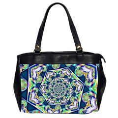Power Spiral Polygon Blue Green White Office Handbags (2 Sides)
